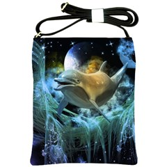 Funny Dolphin In The Universe Shoulder Sling Bags