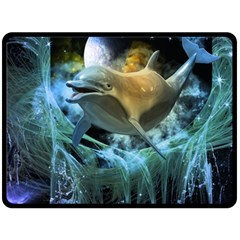 Funny Dolphin In The Universe Fleece Blanket (large)