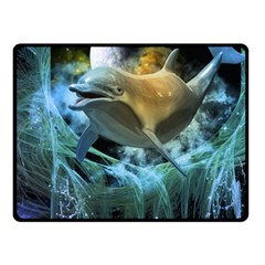 Funny Dolphin In The Universe Fleece Blanket (Small)