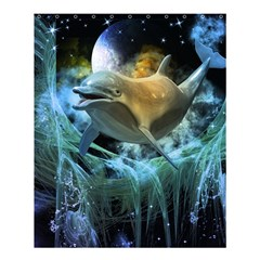 Funny Dolphin In The Universe Shower Curtain 60  X 72  (medium)