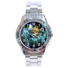 Funny Dolphin In The Universe Stainless Steel Men s Watch