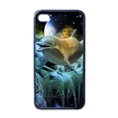 Funny Dolphin In The Universe Apple iPhone 4 Case (Black)