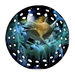 Funny Dolphin In The Universe Round Filigree Ornament (2Side)