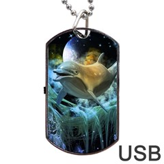 Funny Dolphin In The Universe Dog Tag USB Flash (Two Sides)