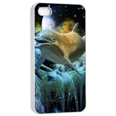Funny Dolphin In The Universe Apple Iphone 4/4s Seamless Case (white)