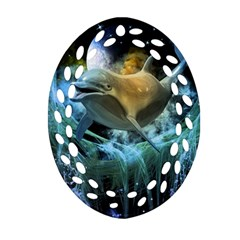 Funny Dolphin In The Universe Oval Filigree Ornament (2-Side)