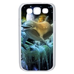 Funny Dolphin In The Universe Samsung Galaxy S III Case (White)