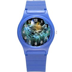 Funny Dolphin In The Universe Round Plastic Sport Watch (s)