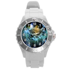 Funny Dolphin In The Universe Round Plastic Sport Watch (L)