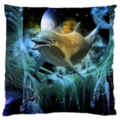 Funny Dolphin In The Universe Large Cushion Cases (one Side)