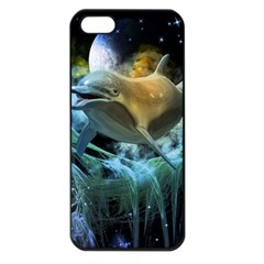Funny Dolphin In The Universe Apple Iphone 5 Seamless Case (black)