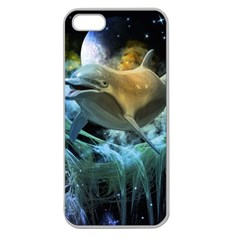 Funny Dolphin In The Universe Apple Seamless iPhone 5 Case (Clear)