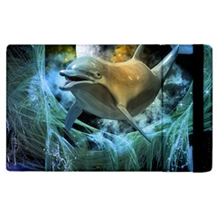 Funny Dolphin In The Universe Apple iPad 2 Flip Case