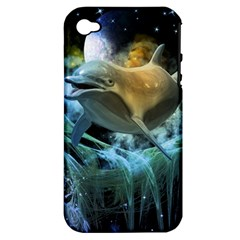 Funny Dolphin In The Universe Apple Iphone 4/4s Hardshell Case (pc+silicone)