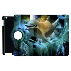 Funny Dolphin In The Universe Apple iPad 2 Flip 360 Case