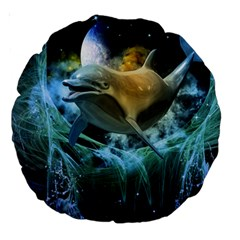 Funny Dolphin In The Universe Large 18  Premium Round Cushions
