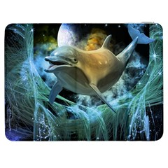 Funny Dolphin In The Universe Samsung Galaxy Tab 7  P1000 Flip Case