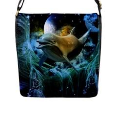Funny Dolphin In The Universe Flap Messenger Bag (l)