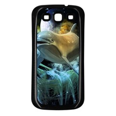 Funny Dolphin In The Universe Samsung Galaxy S3 Back Case (Black)