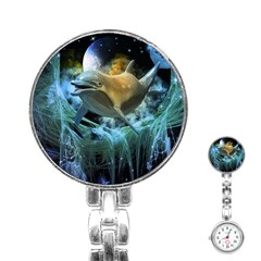 Funny Dolphin In The Universe Stainless Steel Nurses Watches