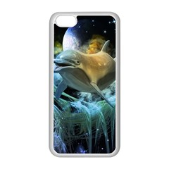 Funny Dolphin In The Universe Apple Iphone 5c Seamless Case (white)