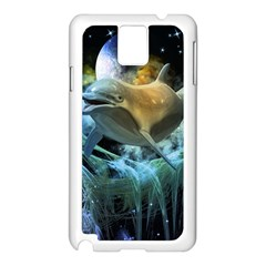 Funny Dolphin In The Universe Samsung Galaxy Note 3 N9005 Case (White)