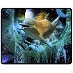 Funny Dolphin In The Universe Double Sided Fleece Blanket (medium)