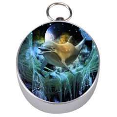 Funny Dolphin In The Universe Silver Compasses