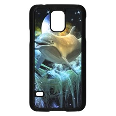 Funny Dolphin In The Universe Samsung Galaxy S5 Case (Black)