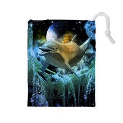 Funny Dolphin In The Universe Drawstring Pouches (large)