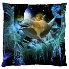 Funny Dolphin In The Universe Large Flano Cushion Cases (Two Sides)