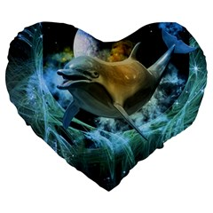 Funny Dolphin In The Universe Large 19  Premium Flano Heart Shape Cushions