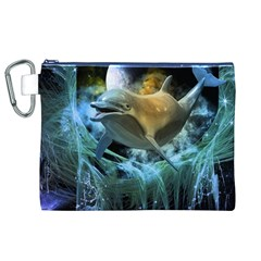 Funny Dolphin In The Universe Canvas Cosmetic Bag (XL)