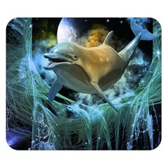 Funny Dolphin In The Universe Double Sided Flano Blanket (Small)