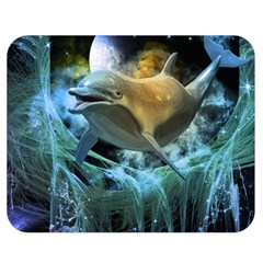 Funny Dolphin In The Universe Double Sided Flano Blanket (Medium)