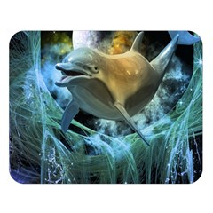 Funny Dolphin In The Universe Double Sided Flano Blanket (Large)