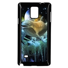Funny Dolphin In The Universe Samsung Galaxy Note 4 Case (black)