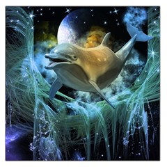 Funny Dolphin In The Universe Large Satin Scarf (Square)