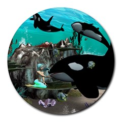 Cute Mermaid Playing With Orca Round Mousepads