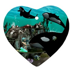 Cute Mermaid Playing With Orca Ornament (Heart)