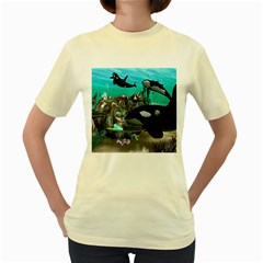 Cute Mermaid Playing With Orca Women s Yellow T-Shirt