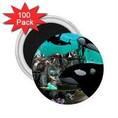Cute Mermaid Playing With Orca 2.25  Magnets (100 pack)