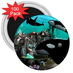 Cute Mermaid Playing With Orca 3  Magnets (100 pack)