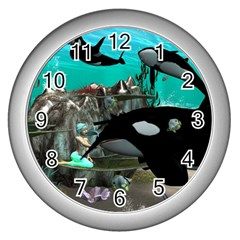 Cute Mermaid Playing With Orca Wall Clocks (Silver)