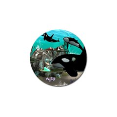 Cute Mermaid Playing With Orca Golf Ball Marker (10 pack)