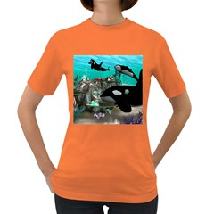 Cute Mermaid Playing With Orca Women s Dark T-Shirt