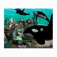 Cute Mermaid Playing With Orca Small Glasses Cloth