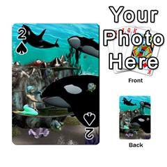 Cute Mermaid Playing With Orca Playing Cards 54 Designs