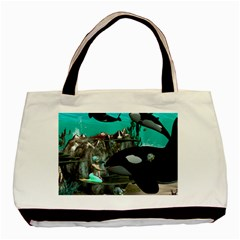 Cute Mermaid Playing With Orca Basic Tote Bag