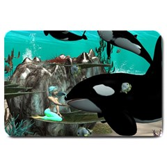 Cute Mermaid Playing With Orca Large Doormat